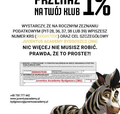 Przekaż 1% Fundację Bydgoskiej Szkółki Piłkarskiej J|Academy